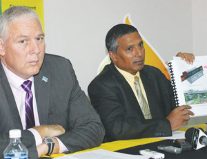 UWP Political Leader Allen Chastanet and former Minister for Communications and Works, Guy Joseph. [Photo: Stan Bishop]