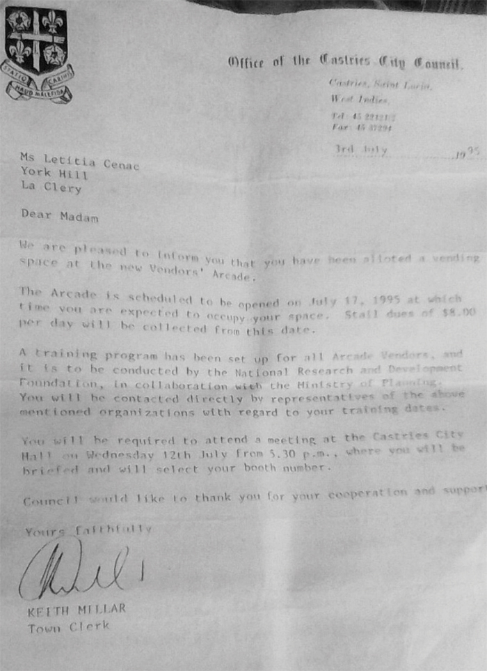 A copy of Cenac's letter from the CCC