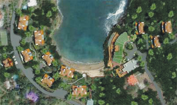 The cove (rendition) illustrating both proposed and existing villas with the proposed 14-room hotel to the right.