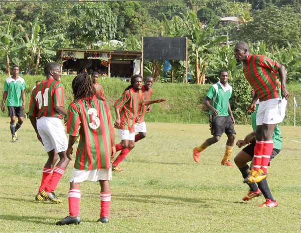 A scene from the showpiece in Saturday double header at the Marigot Playing Field ( Photo: Anthony De Beauville)