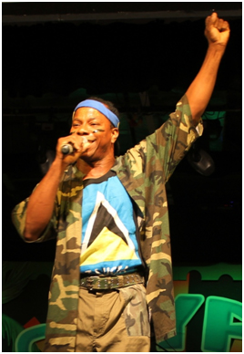Blaze performing at his tent show.