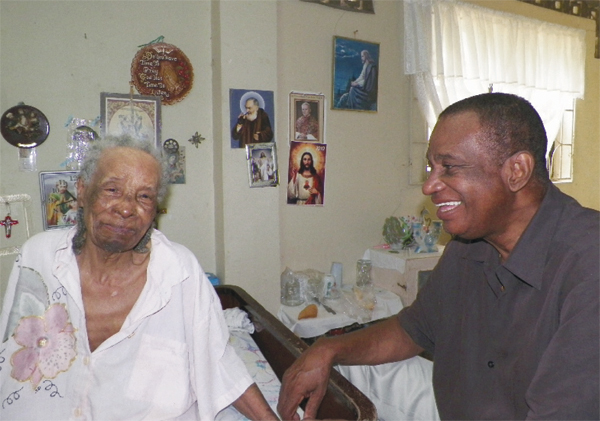 Justin shares time with one of his residents.