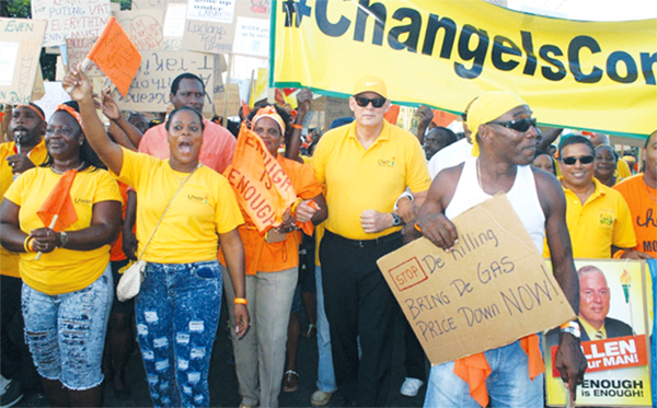 UWP Political Leader Allen Chastanet leading the protest march last Thursday afternoon. [Photo: Stan Bishop]