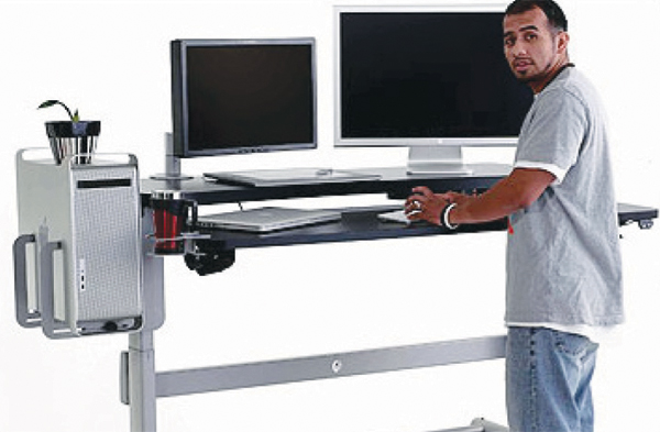A sit-stand desk may raise levels of productivity at work.
