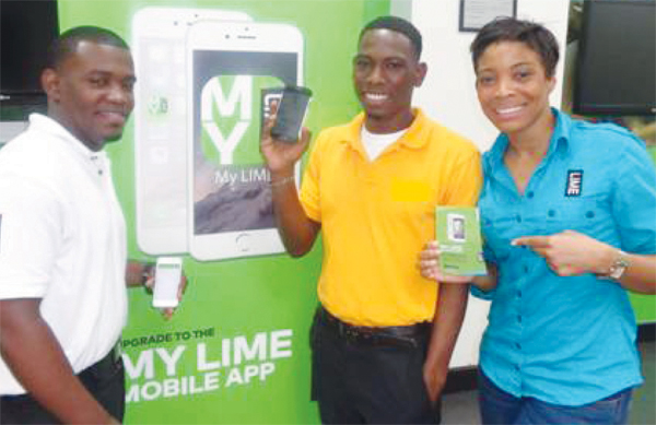 At right: LIME data guru Allyne Phillip and Marketing Rep Sharlene Jn Baptiste with one of the first customers to download new My LIME app.