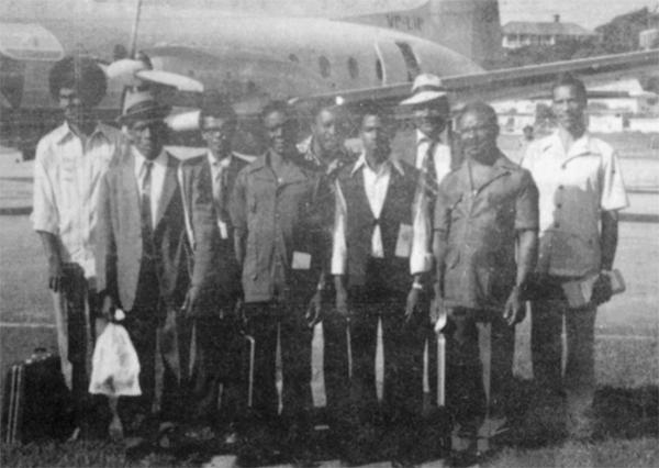 Farmers preparing to leave on prize trip to Trinidad.