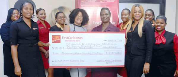 Reps from St. Lucia Crisis Centre and the network for Rural Women with CIBC FirstCaribbean employees.