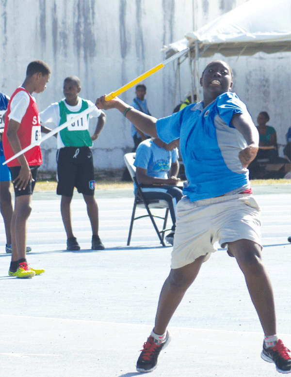 Entrepot Earnisma Delaire won gold in the javelin event ahead of SJC Rochelle Etienne. [Photo: Anthony De Beauville]