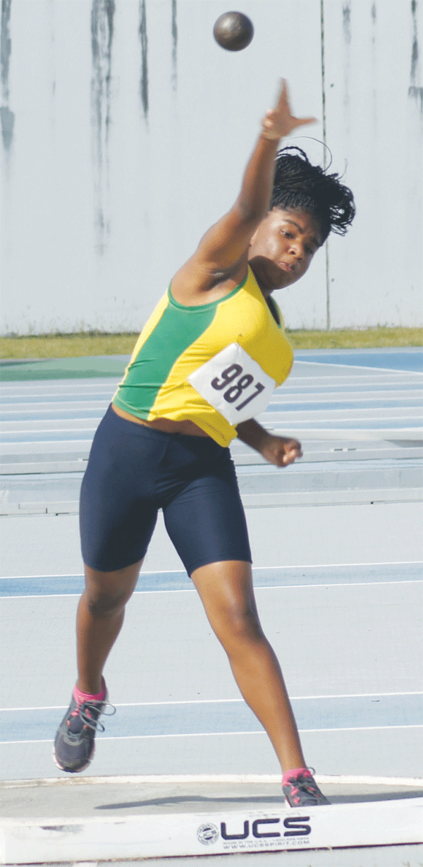 Choiseul Secondary well represented in the shot putt event. [Photo: Anthony De Beauville]