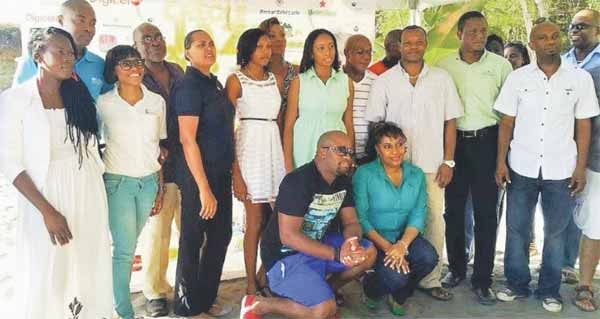 LUCELEC Communications Officer Carmy (third from left) among sponsors at launching of Soufriere Jazz.
