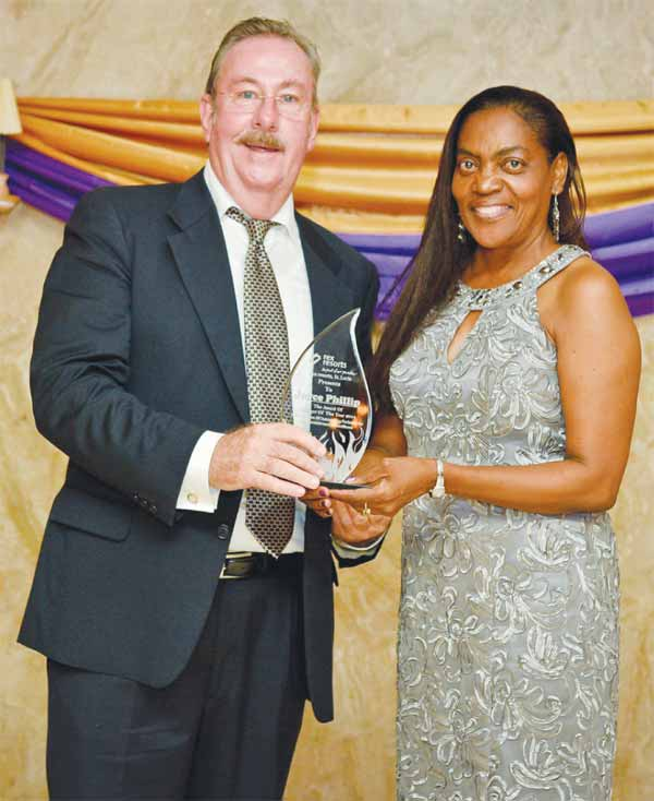 Manager of the Year Joyce Phillip receives her award from Michelin.
