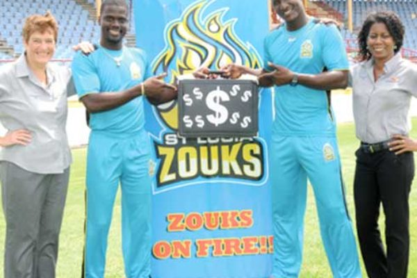 "Image: Guardian Group officials and St. Lucia Zouks team promoting ""Catch a Million"""