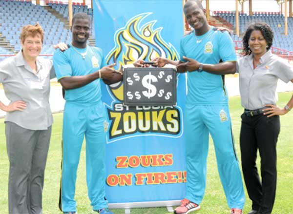 """Image: Guardian Group officials and St. Lucia Zouks team promoting """"Catch a Million"""""""
