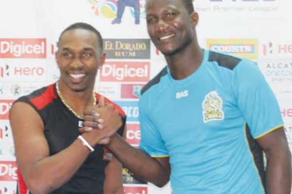 "Image: (L-R) Trinidad and Tobago Red Steel's Dwayne Bravo and St. Lucia Zouks' Darren Sammy say: ""Let the game begin"". (Photo: Anthony De Beauville)"