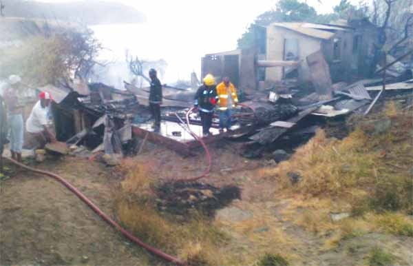 Image of the Micoud fire scene.