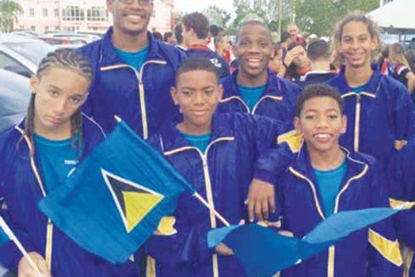 Image: Team St. Lucia at CCCAN Runaka Daniel Jordon Augier, Katie Kyle, Jayhan Odlum Smith, Terrel Monplaisir, Ethan Dyle Elliott and Jumar Archibald.