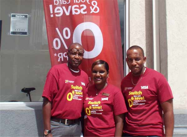 Osman (right) and two CIBC-FCIB staffers promoting the campaign