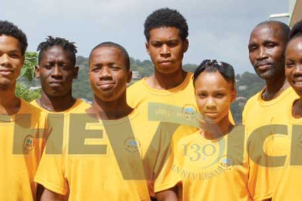 Team St. Lucia to Samoa (L-R) Davion St. Prix, Adrian Louis, Jasl Daniel, Ajani Thomas, Sherlan Jules, Wayne Benti and Rochelle Etienne. Missing in picture Jean Phillipe Murray and Melissa Francois. (Photo: Anthony De Beauville)