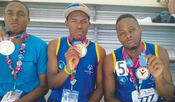 (L-R) Medal winners Benwick Winifred, Joshua Henry and Nordy Randy Gilbert. [Photo: ASt. Lucia Special Olympics]