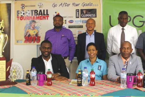 (L-R) Back row - Guinness Brand Manager Sylvester Henry, Director All Inc Cuthbert Didier, General Manager St. Lucia Insurances Alvin Malaykhan, Blackheart Football Analyst - Tennyson Glasgow. (L-R) Sitting front (L-R) SLFA Vice President Northern Region - Chad Desir, Lime Representative Cheryl Francis, Blackheart Production CEO David Christopher and Blackheart Director - Brian Mc Donald. [Photo: Anthony De Beauville]