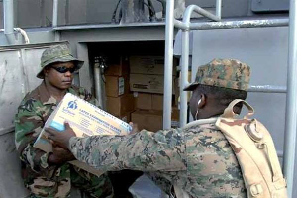 Aid for Dominica being loaded in St. Lucia