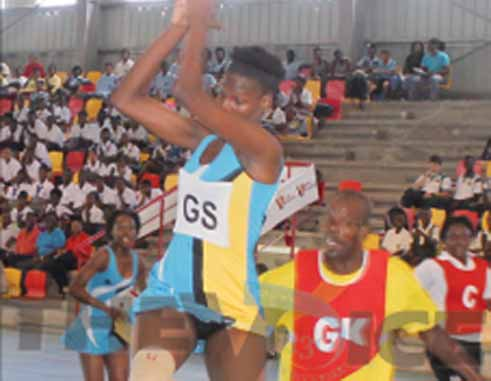 Under 16 netball player Kamala Mangal in action at the opening on Thursday (Photo: Anthony De Beauville)