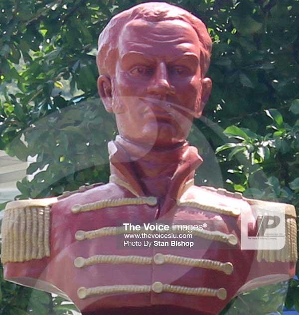 A bust of Jean Baptiste Bideau.[PHOTO: Stan Bishop]