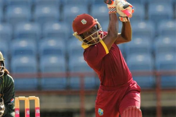 Deandra Dottin drives during her innings vs Pakistan. (PHOTO: WICB Media/Randy Brooks of Brooks Latouche Photography)