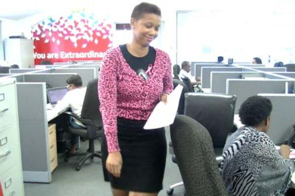 Digicel employees wear pink