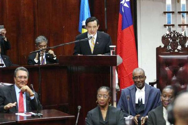 President Ma addressing St. Lucia's parliament.