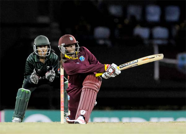 Image: Pakistan wicketkeeper Rabiya Shar sees West Indies Anisa Mohammed swing to the leg side for a boundary. [PHOTO: WICB Media/Randy Brooks Latouche Photography]