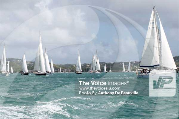 Image: The flotilla on its way to Rodney Bay last year. (PHOTO: Anthony De Beauville)