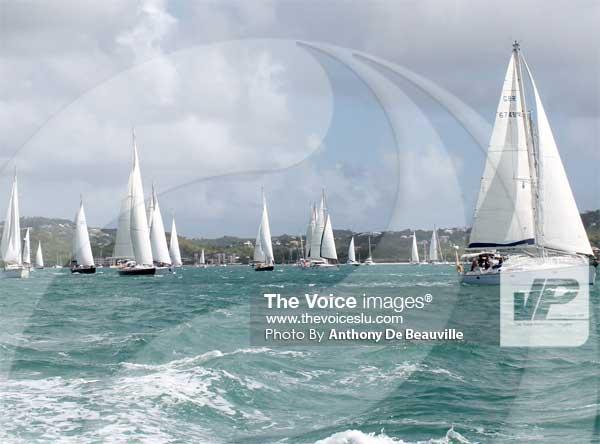 Image: The flotilla on its way to Rodney Bay last year. (PHOTO: Anthony De Beauville)