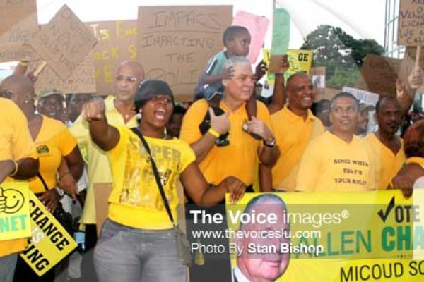 Image: UWP Political Leader, Allen Chastanet, joins protesters on last Thursday's march. [PHOTO: Stan Bishop]