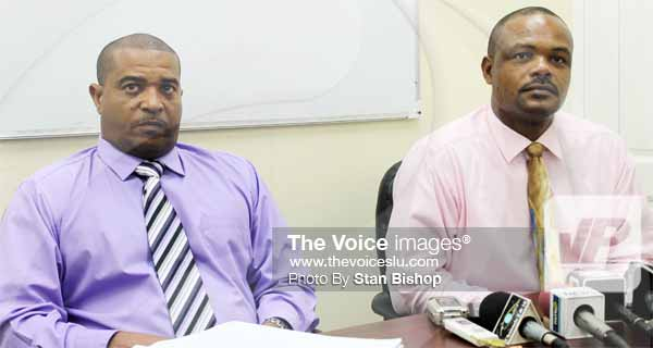 Image: Acting ACP (Crime), Milton Desir, (left), and Acting Superintendent of Police, George Nicholas. [PHOTO: Stan Bishop]
