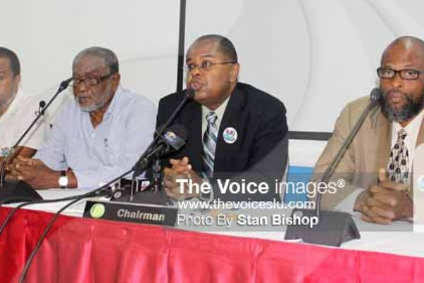 Image: From left to right: Leon Charles, High Level Support Mechanism (HLSM) representative; Dr. Ulric Trotz, Deputy Director and Science Adviser (CCCCC); Dr. James Fletcher; and Roland Bhola, Grenada's Minister for Agriculture, Lands, Forestry, Fisheries and Environment. [PHOTO: Stan Bishop]