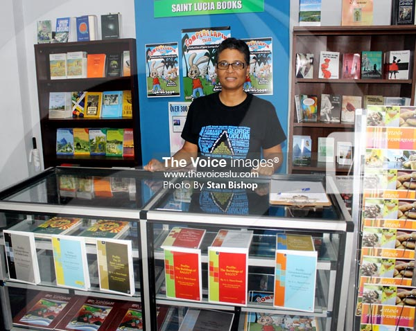 Image: Author Dawn French at Saint Lucia Books' booth at last month's trade exhibition at Johnsons Centre. [PHOTO: Stan Bishop]
