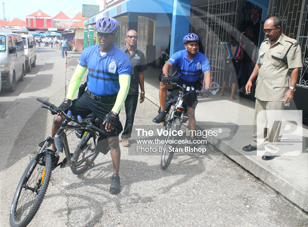 Image: Pius Raveneau, ASP Harrow and the new bicycle patrol team. [PHOTO: Stan Bishop]