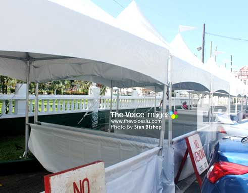 The new white canvas tents for this week's Asou Square. [PHOTO: Stan Bishop]