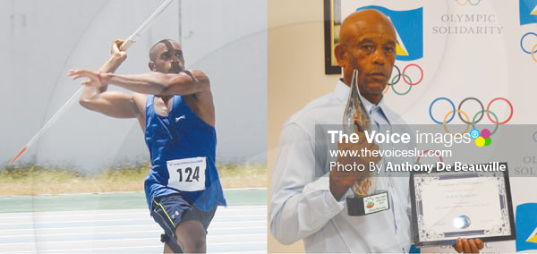 Image: Albert Reynolds enroute to setting new national record, while his father Gillbert Reynolds proudly displays his awards on Saturday evening. (Photo Anthony De Beauville)
