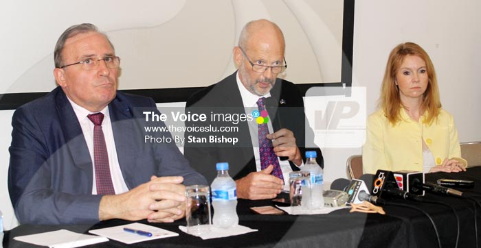 Image: From left to right: French Ambassador to Saint Lucia, Eric de la Moussaye, EU Ambassador Mikael Barfod and British High Commissioner to Barbados, Victoria Dean. [PHOTO: Stan Bishop]
