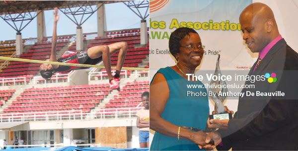 Image: Levern Spencer clears 1.91m, while her mother Anne Marie Spencer receives her award from SLAA President Wayne Burton on Saturday evening (Photo Anthony De Beauville)
