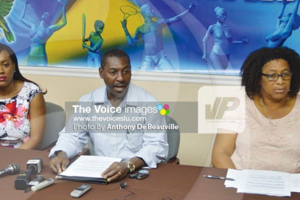 Image: (L-R) Ministry of Youth Development and Sports officials Maundy Lewis, Jim Xavier and Claudia Jn Baptiste -Noel (Photo By Anthony De Beauville)