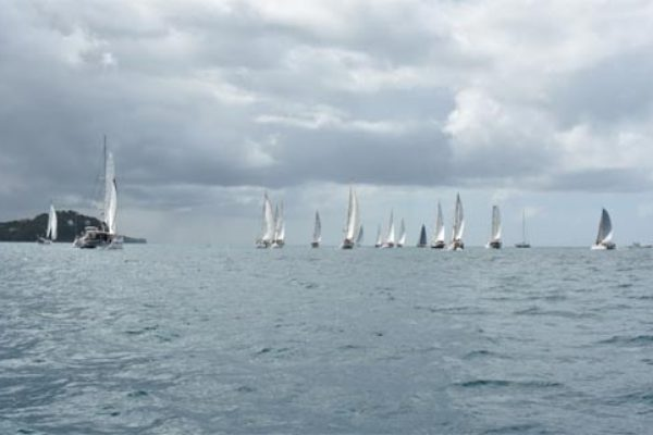The fleet sail along the Saint Lucia coast for leg 1 before setting a course for Santa Marta, Colombia © WCC / Lucia Ivanissevich