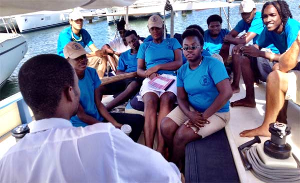 Image: Young people being trained at Jus' Sail.