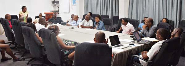 Local media members at a meeting.