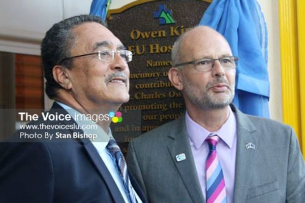 Prime Minister Kenny Anthony and EU Ambassador to Barbados and the Eastern Caribbean, Mikael Barfod, unveiled the plaque at the new hospital. [PHOTO: Stan Bishop]