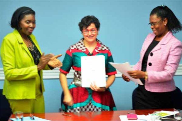 Left to right: Emma Hippolyte, Minister for Commerce; Arancha Gonzales, Executive Director of ITC; Jacqueline Emmanuel - Flood, CEO of TEPA.