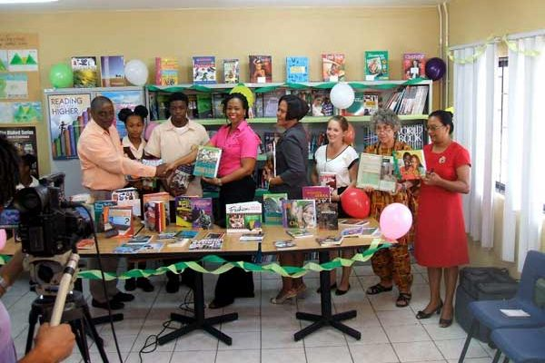 Image: The official handover of books to the Choiseul Secondary School