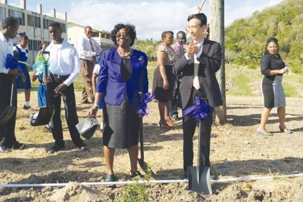 Image: Dame Pearlette and Ambassador Mou at the Sod turning for the project.
